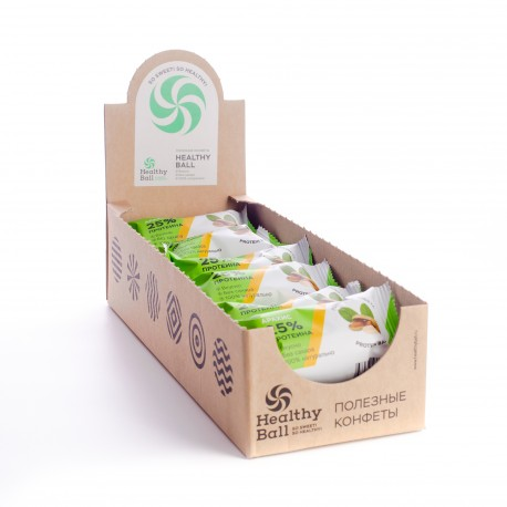 Полезные конфеты HealthyBall Protein арахис , 12 шт.*28гр.